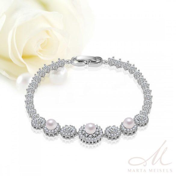 Luxus gyöngyös menyasszonyi karkötő cirkónia kristályokkal díszítve MEK-TM-B1206
