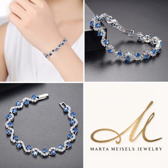 Királykék és fehér kristályokkal díszített esküvői karkötő MEK-TM-B1608