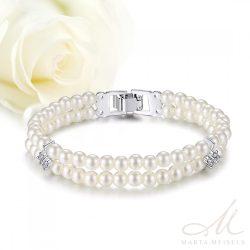 Kifinomult menyasszonyi karkötő két sor gyönggyel és cirkónia kristályokkal  díszítve MEK-TM-B1904 8ccd529afa