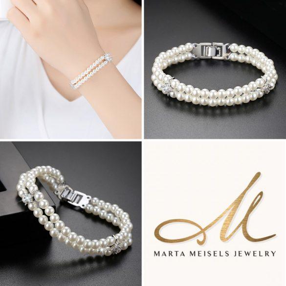 Kifinomult menyasszonyi karkötő két sor gyönggyel és cirkónia kristályokkal díszítve MEK-TM-B1904