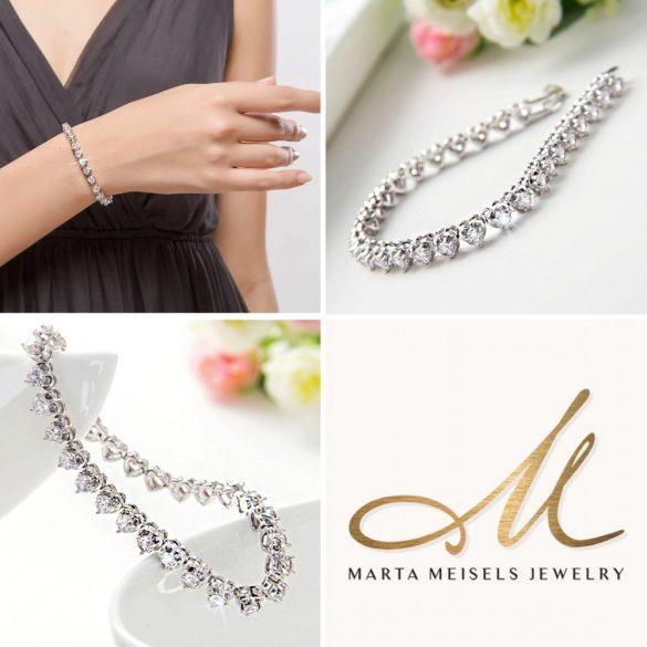 Szív alakú kristályokkal díszített menyasszonyi karkötő MEK-TM-B3136