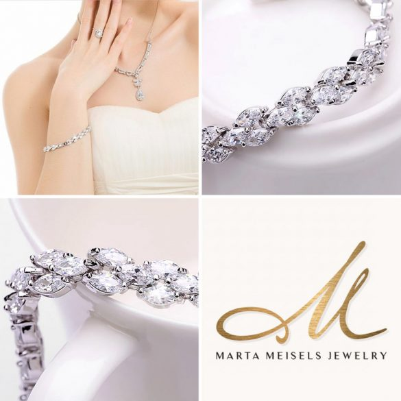 Luxus menyasszonyi karkötő marquise csiszolású kristályokkal díszítve MEK-TM-B503