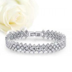 Elegáns, háromsoros menyasszonyi karkötő cirkónia kristályokkal kirakva MEK-TM-B802
