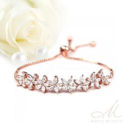 Állítható méretű rozé aranyos menyasszonyi karkötő cirkónia kristályokkal díszítve MEK-WM-B007RG