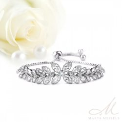 Virágos, filigrán menyasszonyi karkötő cirkónia kristályokkal díszítve MEK-WM-B055