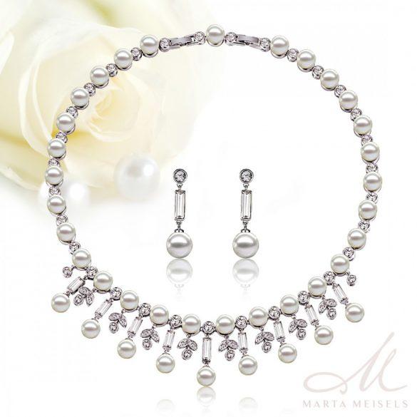 Exkluzív minőségű gyöngy és Swarovski kristályos menyasszony szett MES-CD-B179