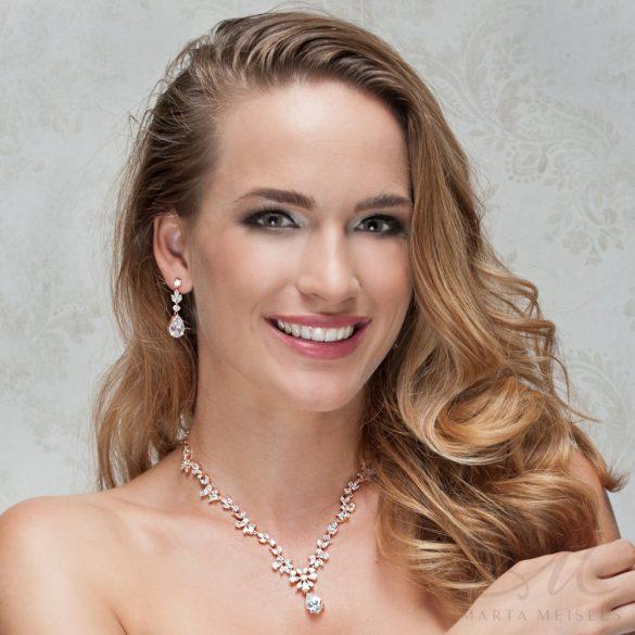 Káprázatosan szép rozé arany bevonatú kristályos menyasszonyi ékszer szett MES-FL-B010RG