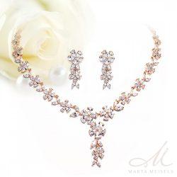 Luxus menyasszonyi rozé szett virág alakú cirkónia kristályokkal díszítve MES-FL-B055RG