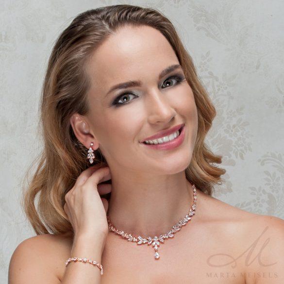 Exluzív minőségű kristályos menyasszonyi ékszer szett rozé arany bevonattal MES-FL-B180RG