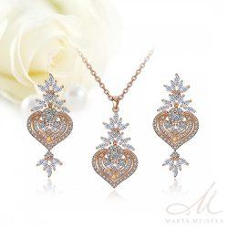 Exkluzív rozé arany bevonatú kristályos menyasszonyi ékszer szett MES-FL-B187RG