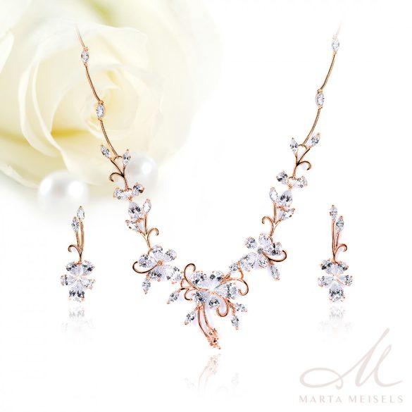 Romantikus, virág motívumos menyasszonyi rozé szett kristályokkal díszítve MES-FL-B305RG