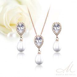 Elegáns gyöngyös, kristályos menyasszony szett rozé arannyal bevonattal MES-FL-B323RG