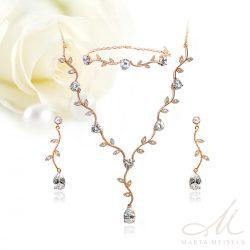 Kifinomult virágos, három részes menyasszonyi szett cirkónia kristályokkal és rozé arannyal díszítve MES-FL-B333RG