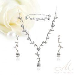 Kifinomult virágos, három részes menyasszonyi szett cirkónia kristályokkal díszítve MES-FL-B333WG