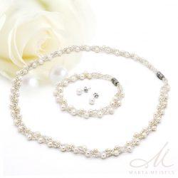 Édesvízi gyöngyből és üveggyöngyből font menyasszonyi szett MES-IP-B1315