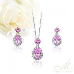 Finom kidolgozású rózsazsín kristályos esküvői ékszer szett MES-TM-B1301