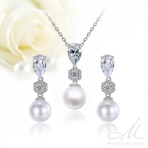 Kifinomult stílusú menyasszony ékszer szett gyönggyel és kristályokkal díszítve MES-TM-B1801