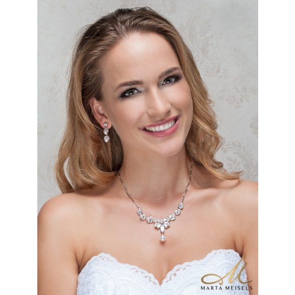 Romantikus menyasszony szett csepp alakú kristályokkal és gyöngyökkel díszítve MES-WM-B035