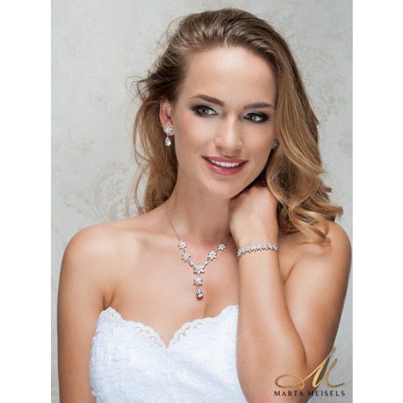 Romantikus menyasszony szett virág alakú kristályokkal és gyöngyökkel díszítve MES-WM-B112