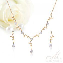 Kifinomult virágos, kétrészes menyasszonyi szett cirkónia kristályokkal és rozé arany bevonattal MES-WM-B455RG