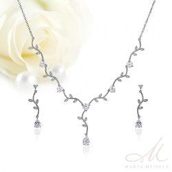 Kifinomult virágos, kétrészes menyasszonyi szett cirkónia kristályokkal és fehérarany bevonattal MES-WM-B455WG