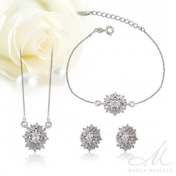 Kifinomult, elegáns három részes menyasszonyi szett cirkónia kristályokkal díszítve MES-XP-B067