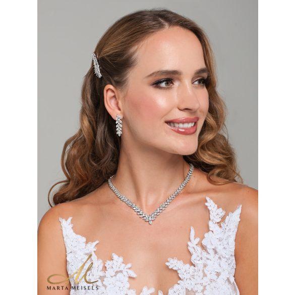 Luxus stílusú virágos, filigrán menyasszonyi ékszer szett cirkónia kristályokkal díszítve MES-XP-B318