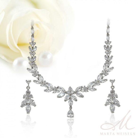 Káprázatosan szép exkluzív menyasszonyi ékszer szett kristályokkal díszítve MES-XP-B410