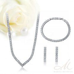 Elegáns három részes modern menyasszonyi szett cirkónia kristályokkal díszítve MES-XP-B437