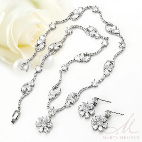 Exkluzív minőségű csillogó virág alakú díszekkel gazdagított menyasszonyi ékszer szett MES-XP-B451
