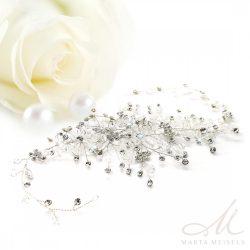 Romantikus stílusú, alakítható menyasszonyi hajdísz fehér kristályokkal díszítve MET-CQ-B016