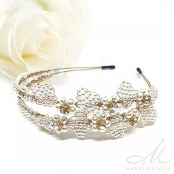 Arannyal bevont gyöngyökkel gazdagon díszített vintage menyasszonyi hajpánt MET-CQ-B017