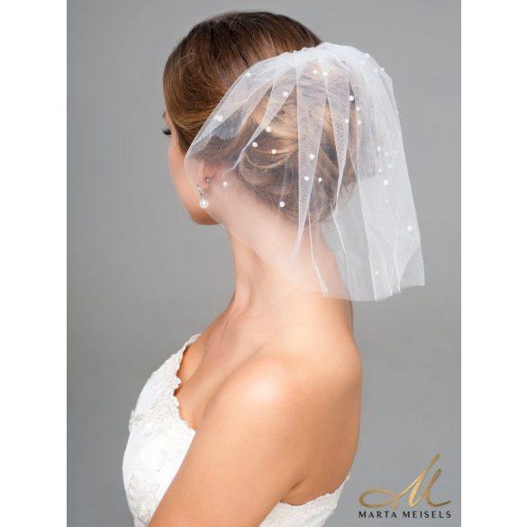 Elegáns, gyöngyökkel díszített birdcage fátyol, menyasszonyi fejdísz MET-CQ-B022
