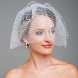 Elegáns, kétrétegű birdcage fátyol, menyasszonyi fejdísz MET-CQ-B201