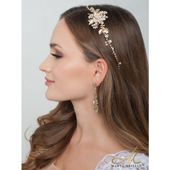 Rozé arany színű menyasszonyi fejdísz gyöngyökkel és kristályokkal díszítetve MET-CQ-B348
