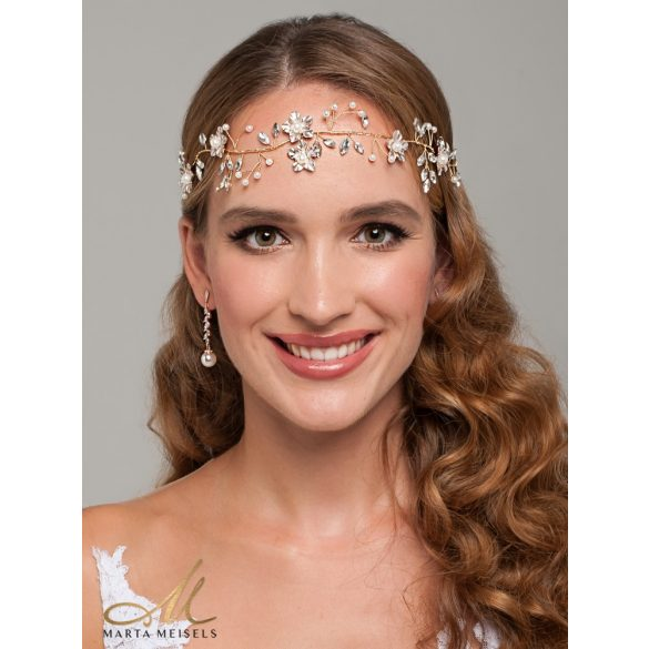 Rozé arany szalagos menyasszonyi fejdísz kristályokkal és gyöngyökkel díszítetve MET-CQ-B350