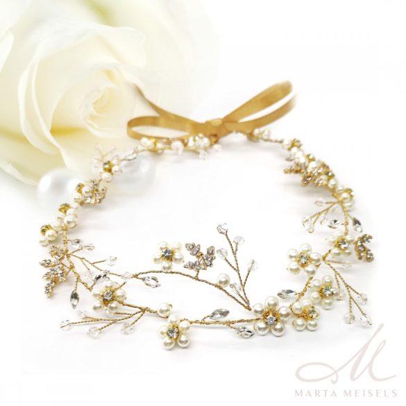 Rozé arany szalagos menyasszonyi fejdísz virágokkal és gyöngyökkel díszítetve MET-CQ-B369G