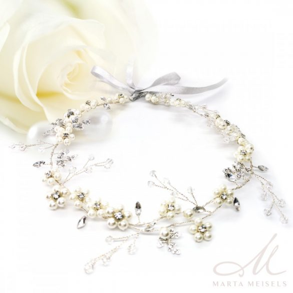 Ezüst  szalagos menyasszonyi fejdísz virágokkal és gyöngyökkel díszítetve MET-CQ-B369W