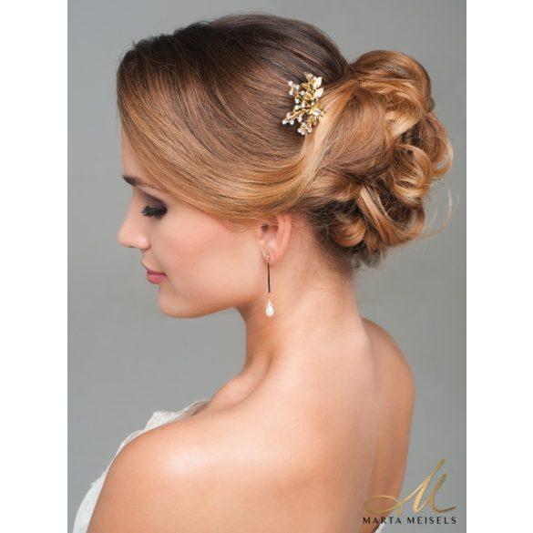 Romantikus arany színű menyasszonyi hajtű MET-CQ-B411