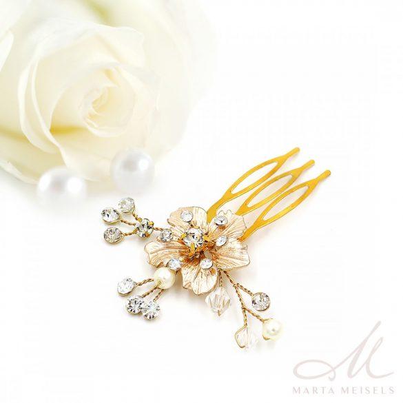 Romantikus, virágdíszes aranyozott menyasszonyi fésűs hajdísz MET-CQ-B512
