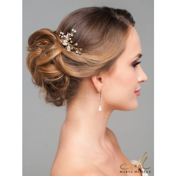 Romantikus menyasszonyi hajtű arany virágokkal díszítve MET-CQ-B616