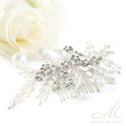 Apró fehér gyöngyökkel és kristályokkal díszített menyasszonyi hajdísz MET-CQ-B841