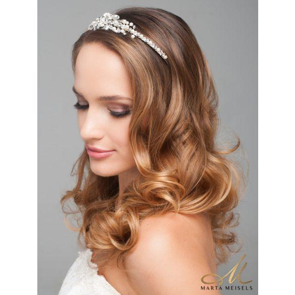Kristályokkal és gyöngyökkel díszített elegáns menyasszonyi hajpánt MET-CQ-B866