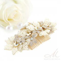 Gyöngyökkel gazdagon díszített aranyozott menyasszonyi fésű MET-CQ-B904