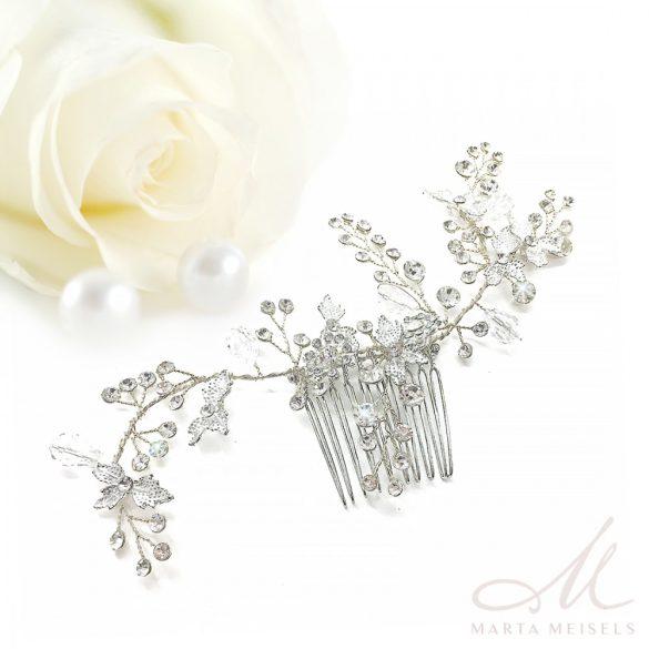 Romantikus menyasszonyi fésű kristályokkal és gyöngyökkel díszítve MET-CQ-B909