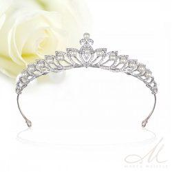 Elegáns menyaszonyi tiara kristályokkal és gyöngyökkel díszítve MET-MM-B019