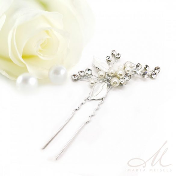 Romantikus menyasszonyi hajtű ezüst virágokkal és gyöngyökkel díszítve MET-MM-B059