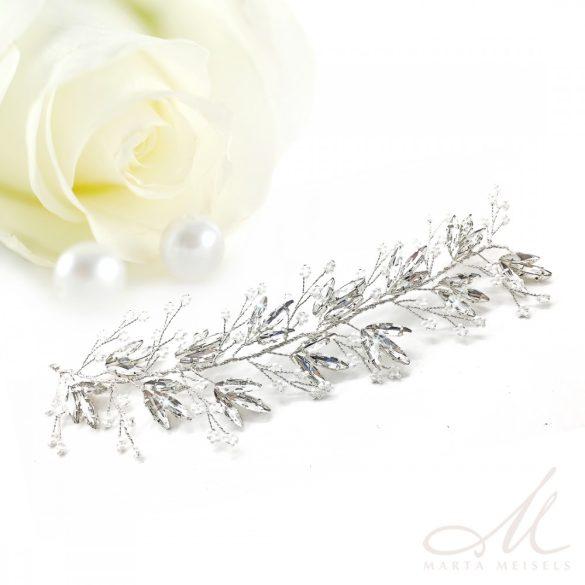 Romantikus stílusú, szalagos menyasszonyi hajpánt csillogó kristályokkal díszítetve MET-MM-B062