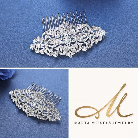 Vintage stílusú kristályokkal díszített menyasszonyi fésű MET-MM-B066