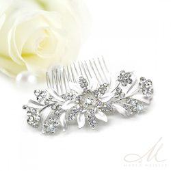 Fehér virágokkal és kristályokkal díszített menyasszonyi fésű MET-MM-B105